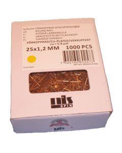 Søm forkobberet, 1,2 * 25, ca 1000 stk